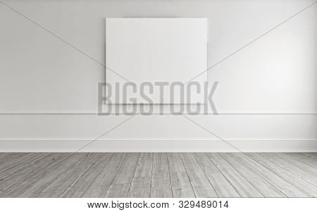 Art gallery template or mockup in monochrome white with a large blank canvas hanging on a wall above painted floorboards. 3d rendering