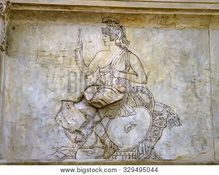 Rome, Italy - March 24, 2019 God Statue Statue Ara Pacis Altar Of Augustus Peace Rome Italy. Monumen