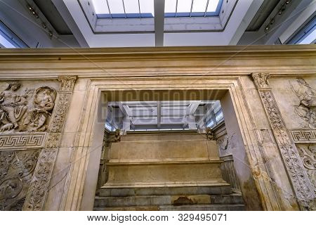 Rome, Italy - March 24, 2019 Statue Ara Pacis Altar Of Augustus Peace Rome Italy. Monument To Empero