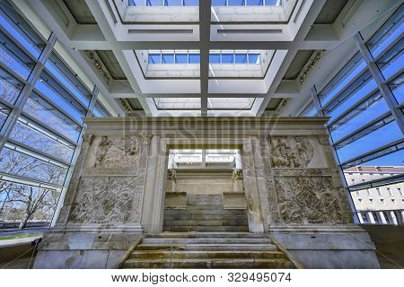 Rome, Italy - March 24, 2019 Statues Ara Pacis Altar Of Augustus Peace Rome Italy. Monument To Emper