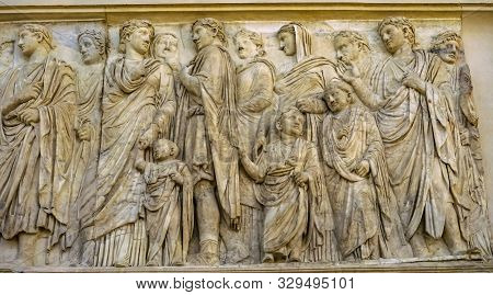 Rome, Italy - March 24, 2019 Imperial Family Statue Ara Pacis Altar Of Augustus Peace Rome Italy. Mo