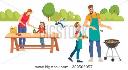 Happy Family At A Picnic Is Preparing A Barbecue Grill Outdoors. Family Picnic. Bbq Party. Food And