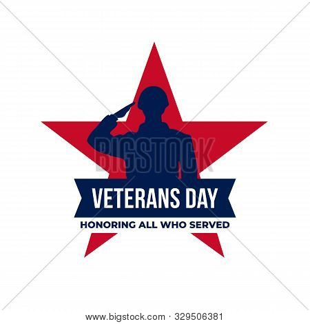 Happy Veterans Day Honoring All Who Served Retro Vintage Logo Badge Celebration Poster Background Ve
