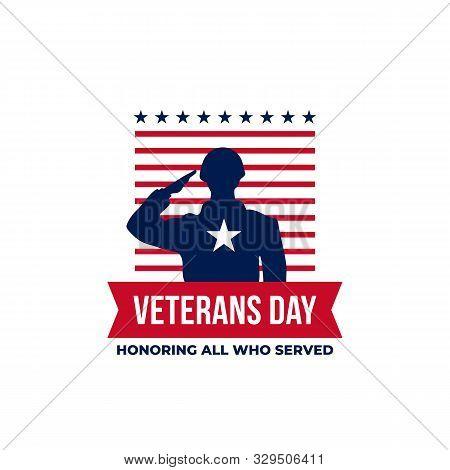 Happy Veterans Day Honoring All Who Served Retro Vintage Logo Badge Celebration Poster Background Ve