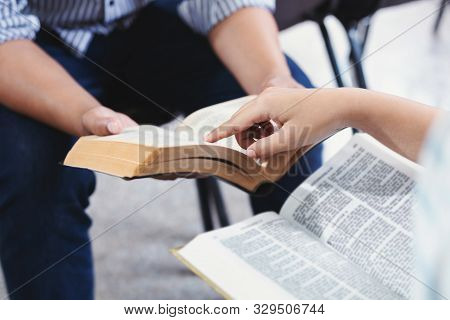 Christian Bible God Deliver Devotional With Hand Friendship Holy Bible Study  Reading Together In Su