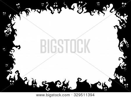 Illustration Fantasy Grotesque Frame With Bats Creatures