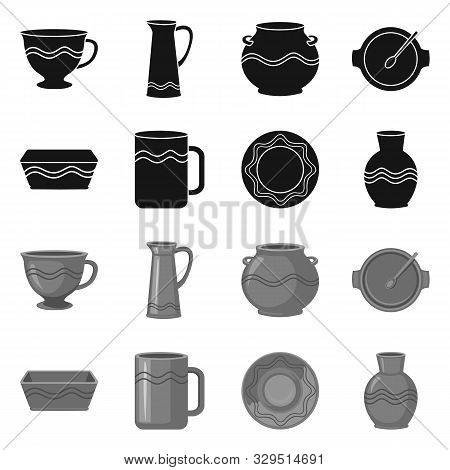 Isolated Object Of Pottery And Ware Symbol. Set Of Pottery And Clayware Stock Symbol For Web.