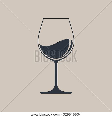 Wine Glass Icon With Wine. Isolated Sign Glass Of Wine On Light Brown  Background. Vector Illustrati
