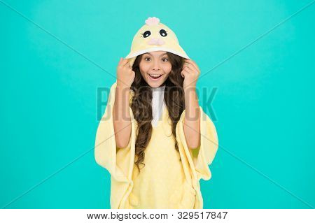 Happy Childhood. Kid With Long Hair Wear Plush Pajamas. Adorable Pajamas. Little Girl Small Child We