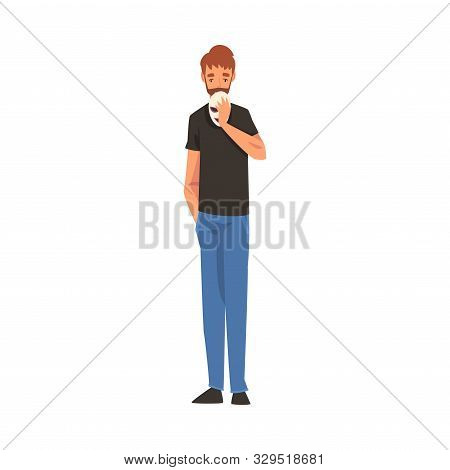 poster of Man Holding Face Mask, Guy Changing His Personality or Individuality to Conform to Social Requirements Vector Illustration