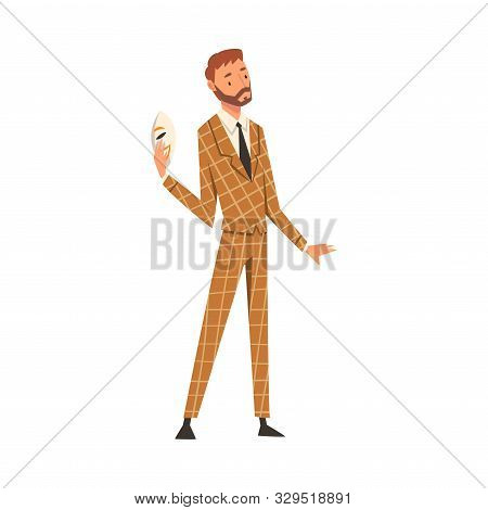 poster of Businessman Holding Face Mask, Man Changing His Personality or Individuality to Conform to Social Requirements Vector Illustration