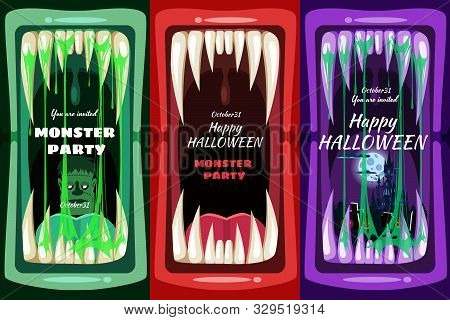 Set Creepy Halloween Party Banners Scary Monster Character Teeth Jaw In Mouth Spittle Closeup Dark C