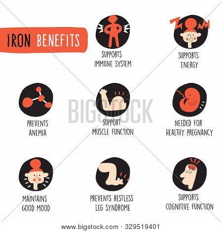 Iron Health Benefits. Infographics. Vector Cartoon Illustration