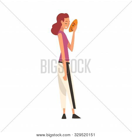 Young Woman Covering Her Face with Mask, Girl Hiding Her Natural Personality or Individuality to Conform to Social Requirements Vector Illustration poster