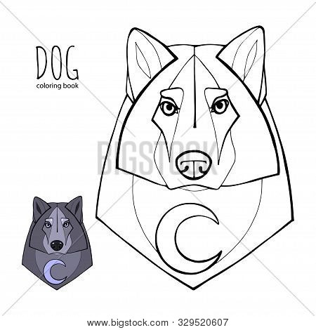 Wolf In Tribal Style With Moon.detail Wolf For Coloring Page, Tattoo, Shirt Design Effect And Logo.