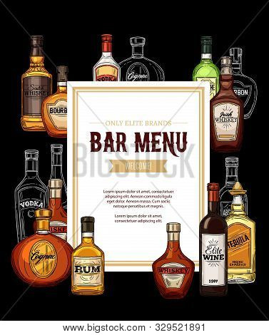 Elite Alcohol Drinks Bar Menu, Frame Of Bottles. Vector Irish Whiskey, Vodka And Cognac, Wine And Te