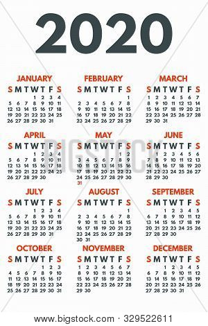 2020 Year Calendar Concept Banner. Flat Illustration Of 2020 Year Calendar Vector Concept Banner For