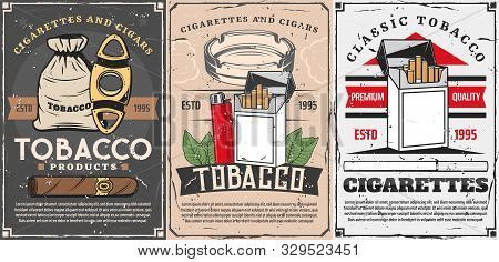 Vector Smoking Shop, Cigar Cutters, Lighters And Matches Box With Cigarette Ashtray And Tobacco Leaf