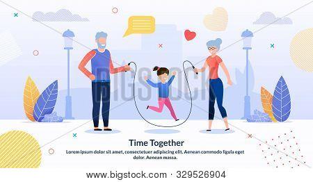Relatives Rest Spending Time Together Flat Poster. Cartoon Grandparents Entertaining Grandchild. Lit