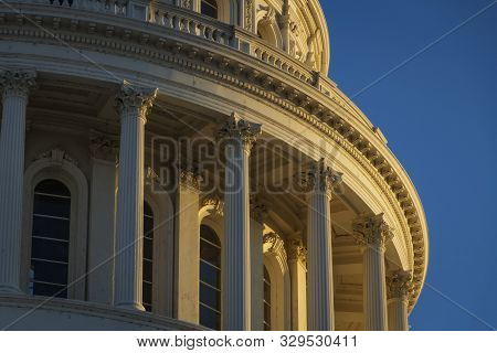 The Late Afternoon Sun Hits The Capitol Building In Sacramento, California