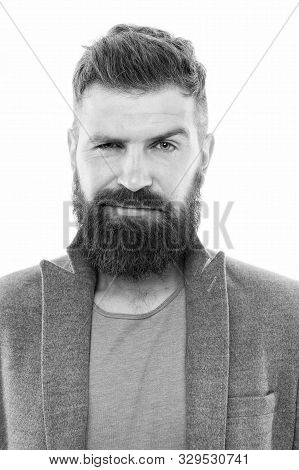Dude Fashion Is Pretty Formulaic. Trendy Hipster With Mustache And Long Beard Wearing Fashion Jacket