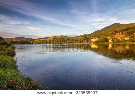Landscape With The River Vah In The North Of Slovakia, Europe.