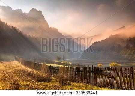 Morning Sunshine In Mountainous Landscape In Autumn Colors, Slovakia - Sulov Rocks, Europe.