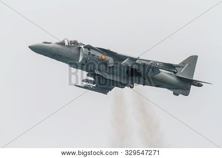Motril, Granada, Spain-jun 09: Aircraft Av-8b Harrier Plus Taking Part In An Exhibition On The 12th