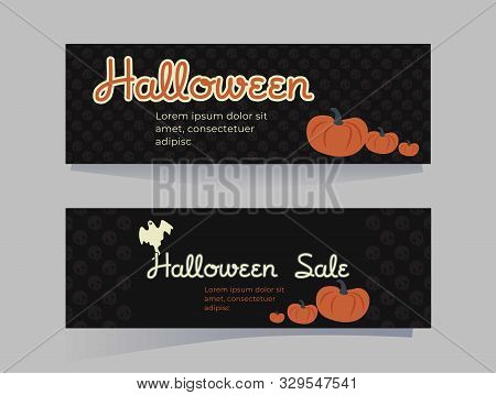 Set Of Patterns For Halloween. Horizontal Covers Or Postcards In Cartoon Style Turtles, Pumpkins On