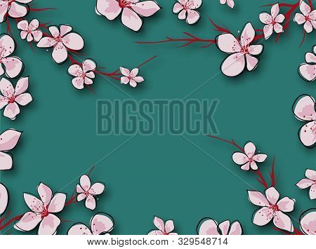 Japanese Green Banner On Pink Background. Fresh Flowers. Spring Decoration. Vintage Texture. Gradien