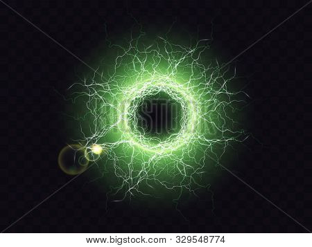 Electric Ball, Lightning Plasma Sphere, Circle Strike Impact Place In Green Color With Lens Flare Ef