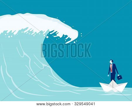 Businessman Find Barriers To Success. Concept Business Vector Illustration, Paper Boat, Tsunami Wave