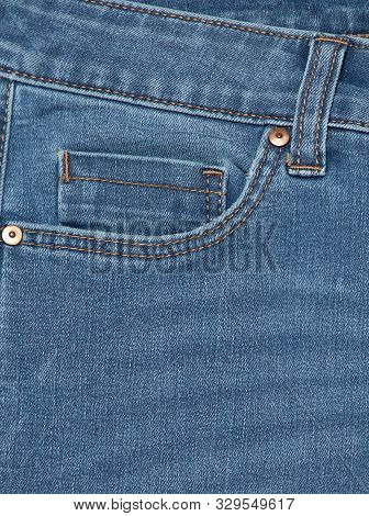 Blue Jeans . Detail Of Vintage Blue Jeans Texture With Pocket.pocket On Jeans Denim Fashion Backgrou