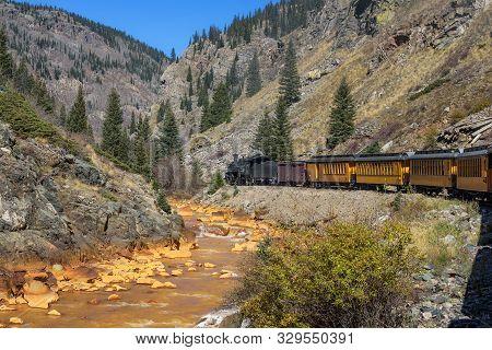 Historic Steam Engine Train Travels From Durango To Silverton Through The San Juan Mountains Along T