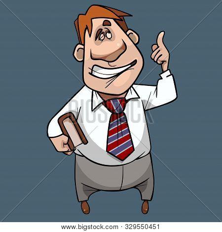 Cartoon Man With Book Armpit Thought Up A Brilliant Idea