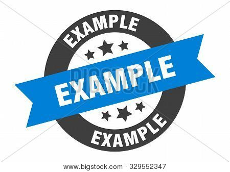 Example Sign. Example Blue-black Round Ribbon Sticker