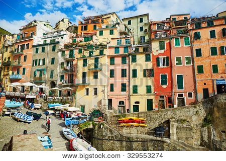 Riomaggiore, Italy- October 20, 2016: Picturesque Street Of Riomaggiore, One Of Five Famous Villages
