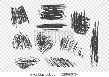Chaotic Charcoal Scribble Vector Illustrations Set. Messy Ink Brush Strokes With Dry Paint Effect. R