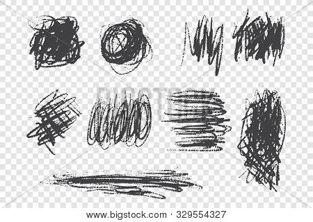 Scrabbles And Scrawls Hand Drawn Doodle Set. Brush And Pencil Strokes Freehand Drawing. Monochrome B
