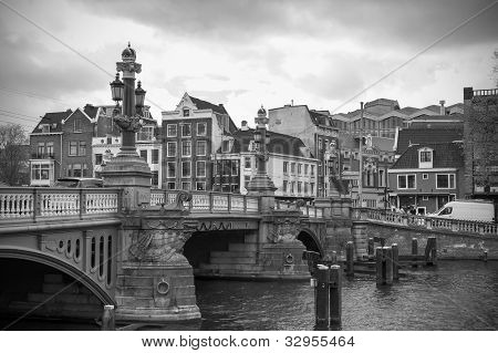 Amsterdam canal and typical buildings