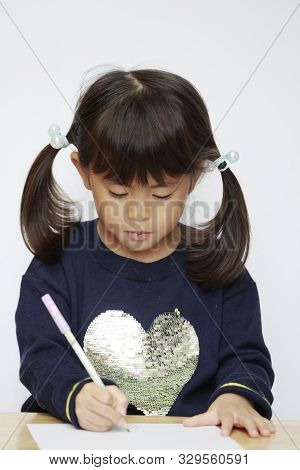 Japanese Girl Drawing A Picture (4 Years Old)