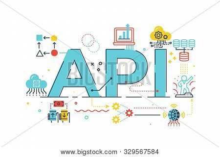 Api Application Program Interface Word Lettering Illustration With Icons For Web Banner, Flyer, Land