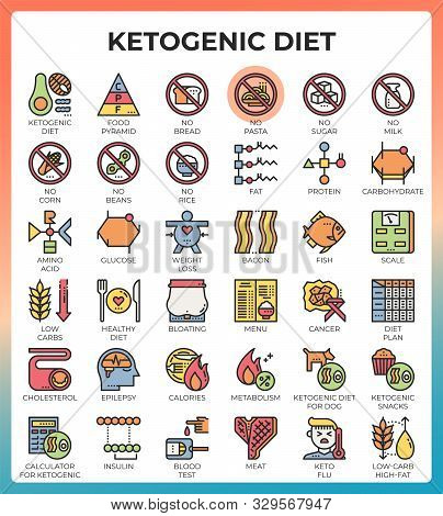 Ketogenic Diet Concept Icons Set In Modern Line Icon Style For Ui, Ux, Website, Web, App Graphic Des