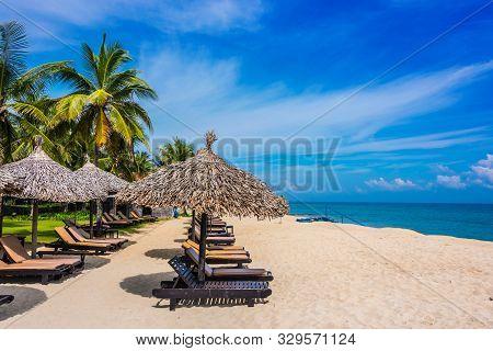 Cua Dai, sandy sea beach near Hoi An in Quang Nam Province, Vietnam poster