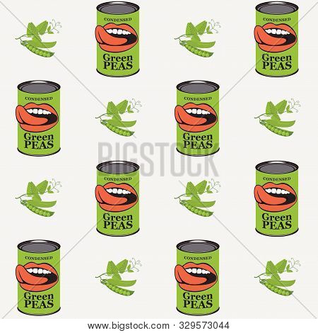 Vector Seamless Pattern With Green Peas, Green Pea Cans And Human Mouths In Retro Style On Light Bac
