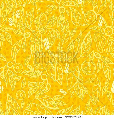 Seamless Repeating Leaf yellow Background. Vector Leafs Silhouette Seamless Pattern poster