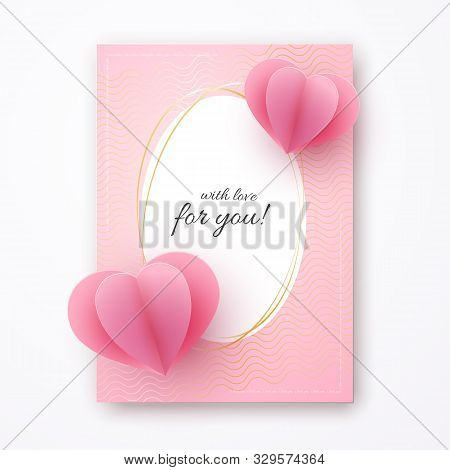 Paper Heart On A Pink Luxury Background Text With Love For You With Love In A Golden Luxury Frame He