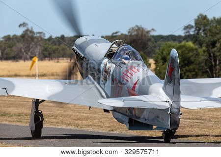 Tyabb, Australia - March 9, 2014: Yakovlev Yak-9um World War Ii Russian Fighter Aircraft Vh-yix.