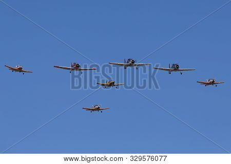 Tyabb, Australia - March 9, 2014: Commonwealth Aircraft Corporation Ca-25 Winjeel Aircraft Leading A