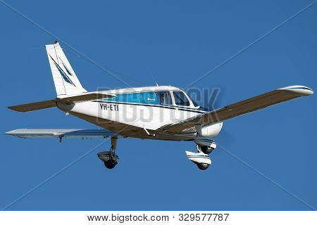 Tyabb, Australia - March 9, 2014: Piper Cherokee (pa-28-140) Single Eying Light Aircraft Vh-eti Flyi